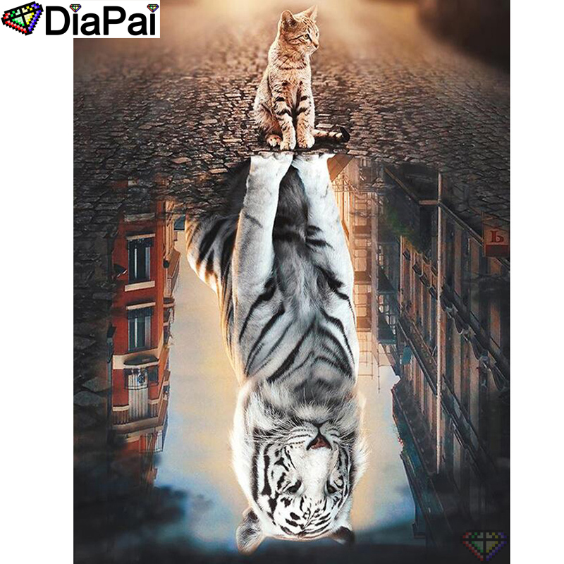 DIAPAI 5D DIY Diamond Painting 100 Full Square Round Drill quot Animal cat tiger quot Diamond Embroidery Cross Stitch 3D Decor A18523 in Diamond Painting Cross Stitch from Home amp Garden