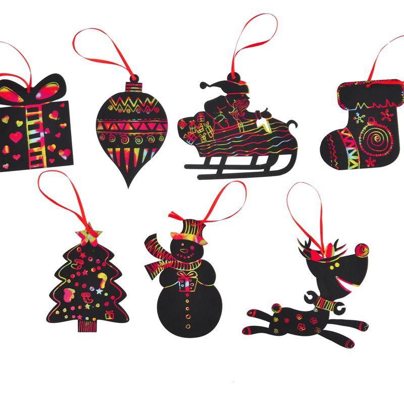 Colorful Christmas Ornaments Drawings.Scratch Card Magic Color Christmas Tree Ornaments Scratch Art Paper Coloring Cards Scraping Drawing Toy Decoracion Navidad Xmas Decorating Xmas