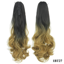 Soowee Curly Blue Ombre Claw Ponytail Synthetic Hair Clip In Hair Extension Hairpiece Pony Tail Hair-extension Hair Pieces