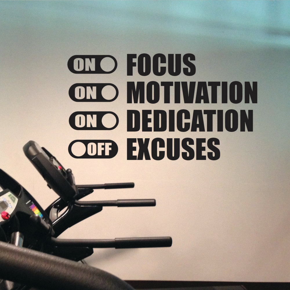 Focus On Motivation On Excuses Off Gym Motivation Quote Workout Fitness Vinyl Art Wall Decals Home Decoration