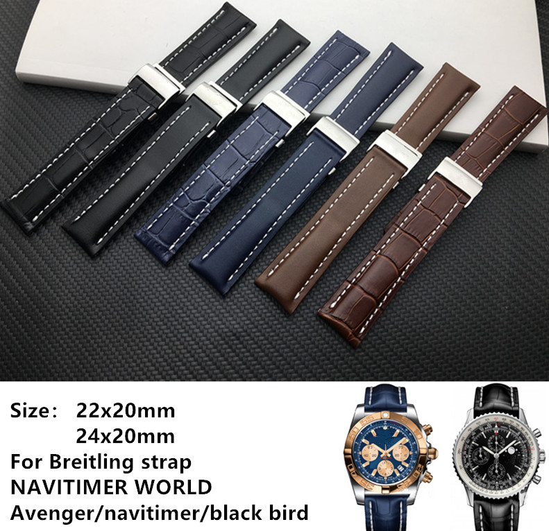 Genuine Real Leather Watch Band Watchband For Breitling Strap For NAVITIMER WORLD Avenger/navitimer Belt 20mm 22mm 24mm Logo