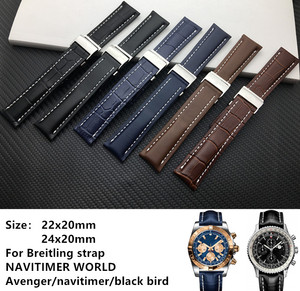 Genuine real Leather Watch Band Watchband For Breitling strap for NAVITIMER WORLD Avenger/navitimer belt 20mm 22mm 24mm logo(China)