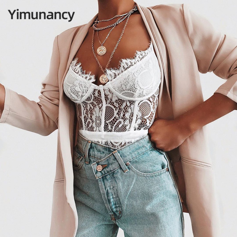 Yimunancy Floral Embroidery Lace Bodysuit Women Fashion Sexy Bodysuit Ladies White/Black Bodysuit Summer Overalls