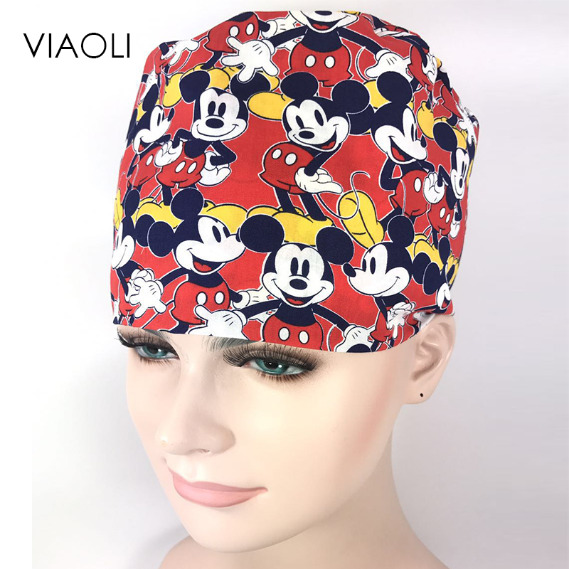 2x Lace Up Printed Cotton Medical Cap Surgical Hat Bouffant Scrub Cap Unisex