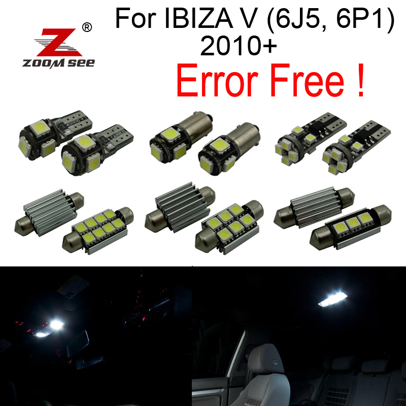 13pcs LED  License plate bulb + Parking city lamp + side marker + Interior dome Lights for Seat for IBIZA V (6J5 6P1) 2010+ 27pcs led interior dome lamp full kit parking city bulb for mercedes benz cls w219 c219 cls280 cls300 cls350 cls550 cls55amg