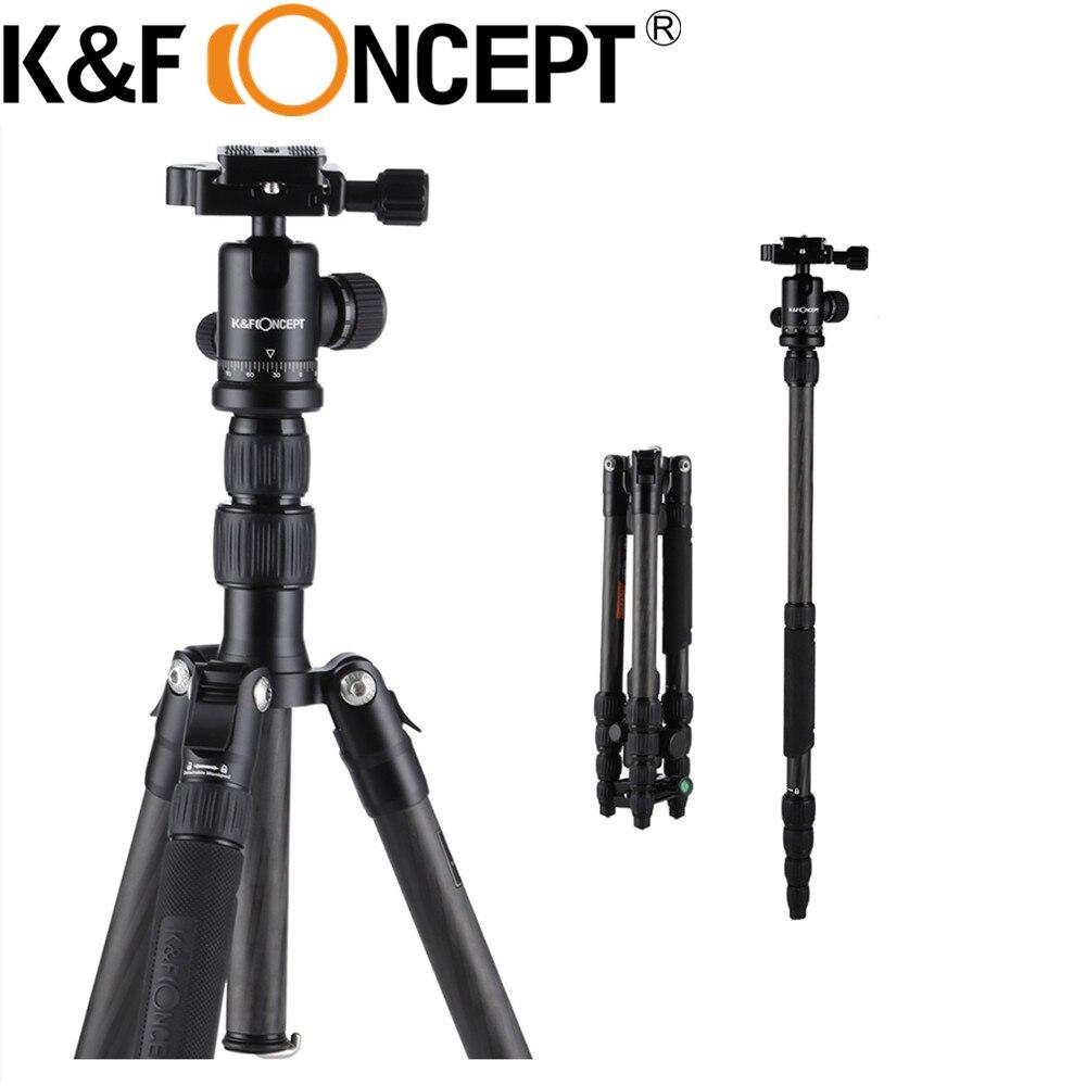 K&F CONCEPT Professional Carbon Fiber Travel Flexible Tripod Stand Ball Head For Digital Camera Monopod Metal Locking Knob