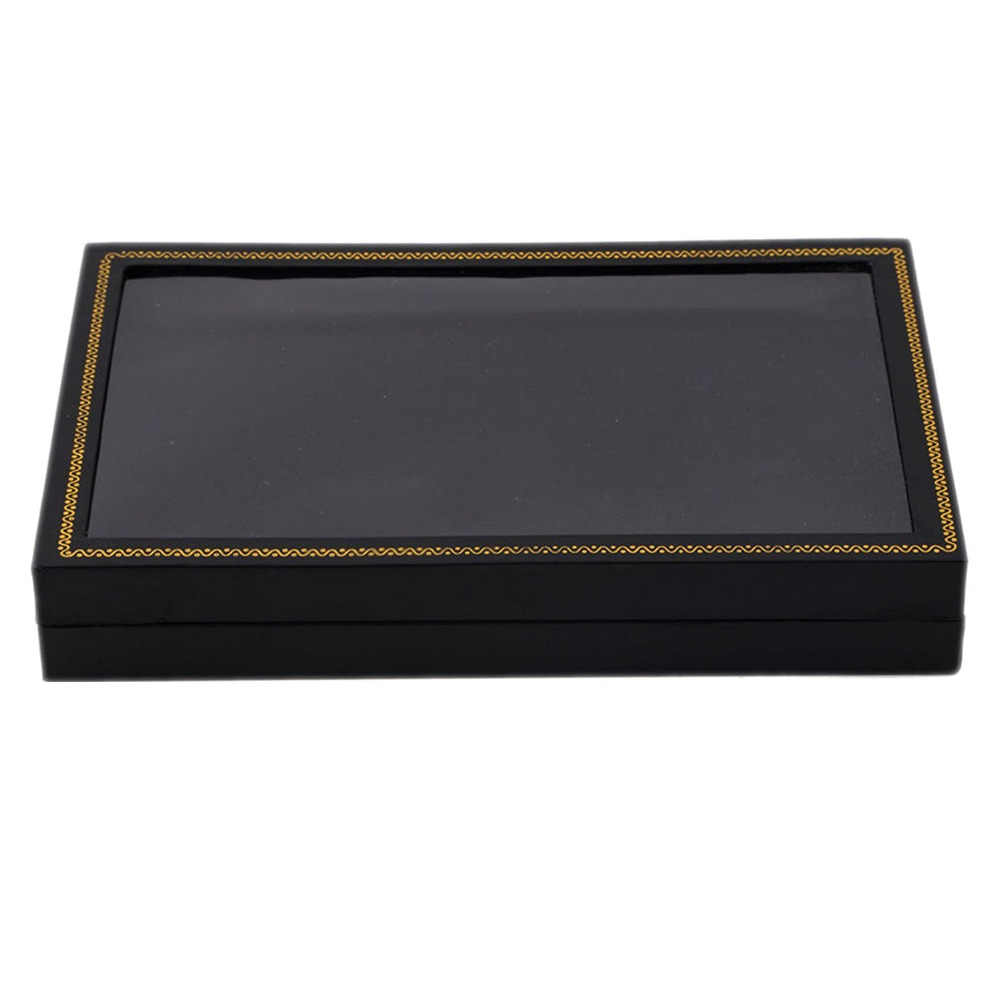 Прозрачный Топ 36 слотов коробка для демонстрации колец витрина бархатная вставка Подложка для ювелирных изделий Органайзер для хранения держатель Витрина коробка черный