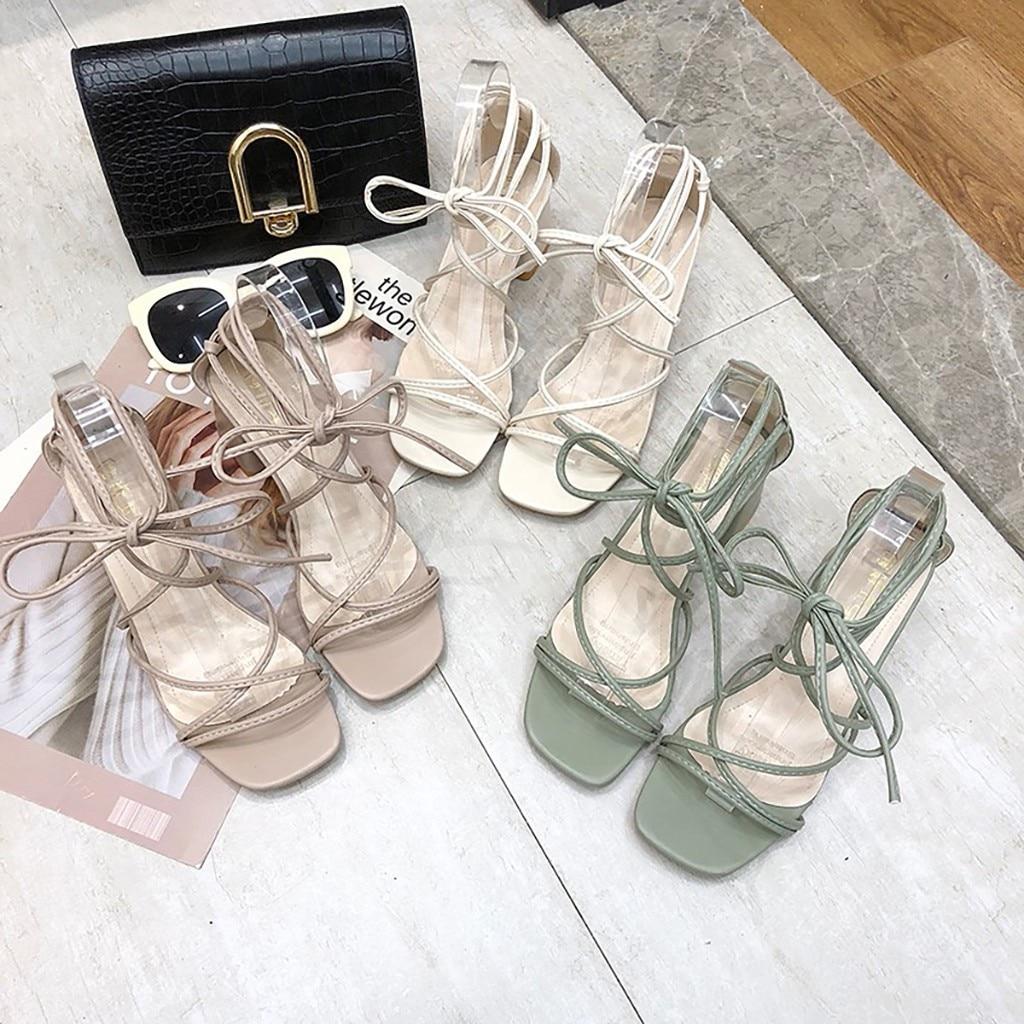 Summer Women Sandals Ladies Elegant Square Toe Square Heel Sandals Rome Strap Shoes Female Casual Soft Beach Shoes D9#