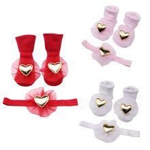 Hot Baby Socks 2018 New Autumn Winter Cute Baby Cotton Dispensing Anti-slip Floor Socks+HairBand Two-piece Infant Socks 0-1Y(China)