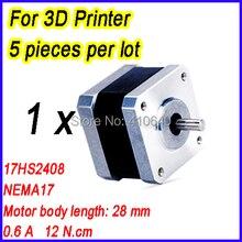 3D Printer NEMA 17 Stepper Motor 17HS2408 L28 mm 1.8 deg 0.6 A 12 N.cm 4 Wires  FREE SHIPPING! 1 Piece
