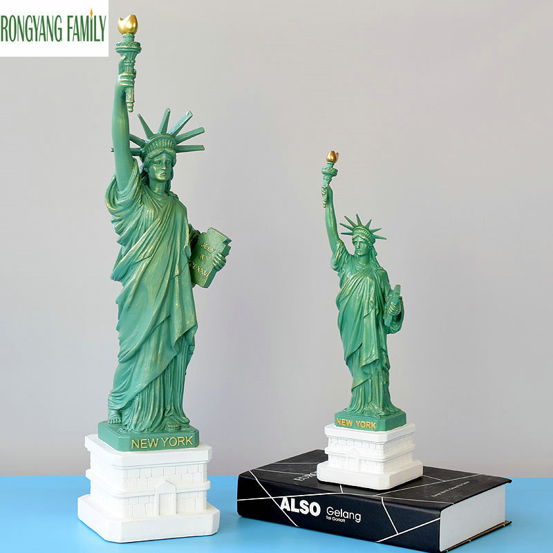 American USA New York Resin Statue Of Liberty Replica Model Free Goddess Figurines Home Desk Table Decorations Crafts Sculpture