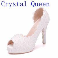 Crystal Queen Women Sweet White Flower Lace Platform Peep Top High Heels Pearls Wedding Shoes Bride Dress Shoes11CM Pumps