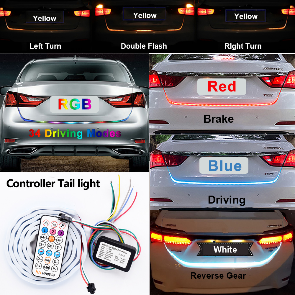 RF Wireless Controller RGB Colorful Flow Led Strip for Car Trunk Dynamic Streamer Blinkers led Turn Tail Tailgate Warning Light