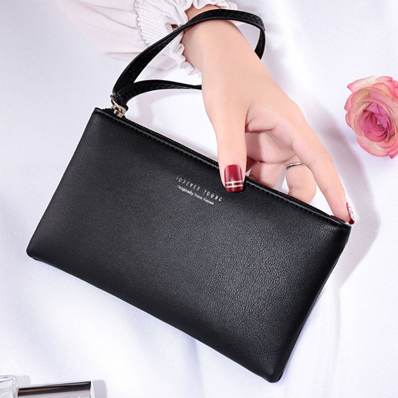 2019 Fashion Women PU Leather Purse Wristlet Zipper Wallet Handbag Envelope Phone Key Case Clutches For Women Coin Purses