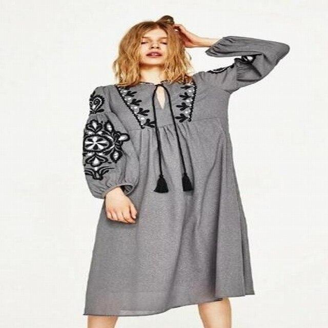 22cfe5b08d new women s retro style embroidery long maxi dress vintage national style  Spain boho loose long dress