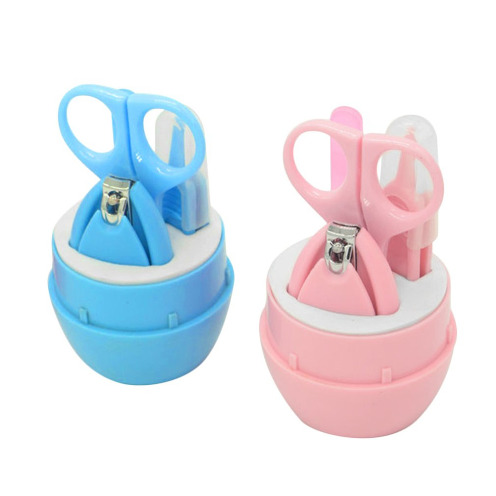 4PCS Baby Nail Scissors Set Lovely Nail Clippers Trimmer Blue Pink Nail Safety Scissors Nail Shell Shear Manicure Set Baby Care