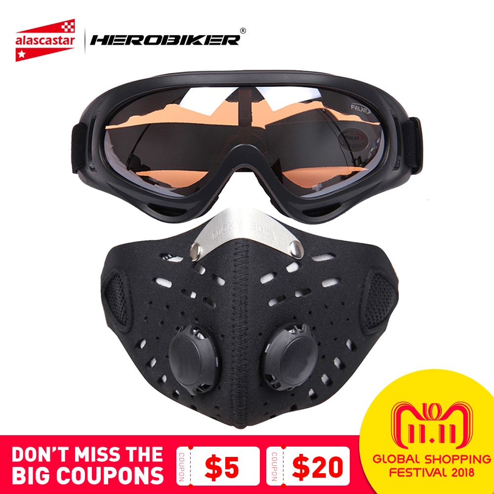 HEROBIKER Motorcycle Mask Face Shield Balaclava Ski Glasses Outdoor Biker Bicycle Cycling Face Mask Motorcycle+Colorful Goggle new arrival 3d animal outdoor party cycling ski hat balaclava motorcycle full face mask cap face shield sun mask dropshipping