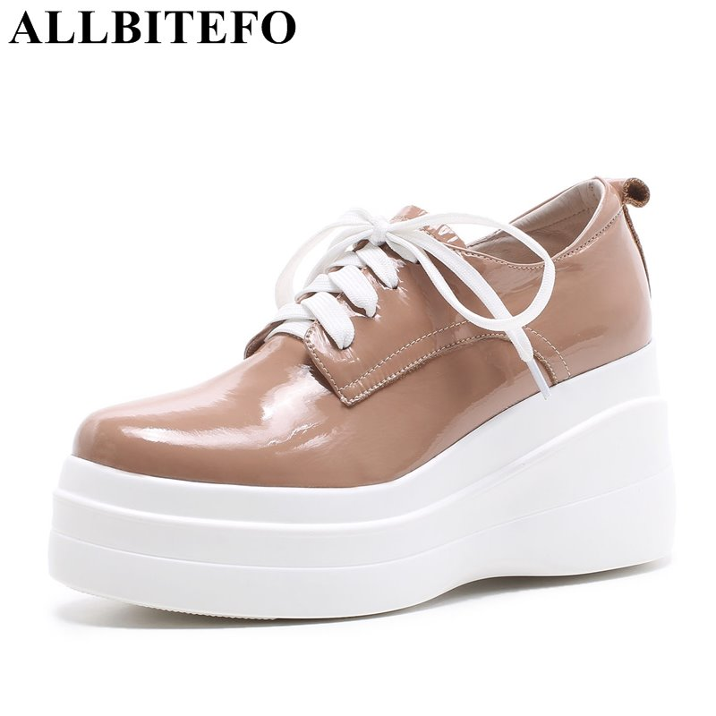 ALLBITEFO new fashion brand Patent leather high heels platform women pumps wedges high heel shoes spring shoes girls shoes allbitefo 2018 new spring horsehair thick heel lace up women pumps low heeled platform casual women shoes office high heel shoes