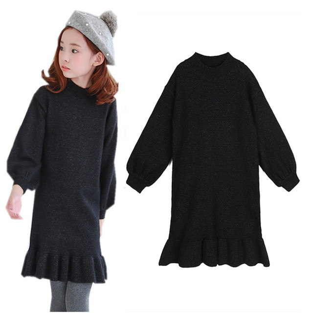 5a8aca99878 6 to 14 years kids   teenager girls black knitted flare sweater dress  children fashion casual autumn winter sweater dresses
