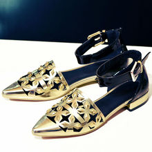 Women's Ankle Strap Flats Sandals Pointed Toe Hollow-out Brand Designer Silver Gold Genuine Leather Summer Single Shoes Women