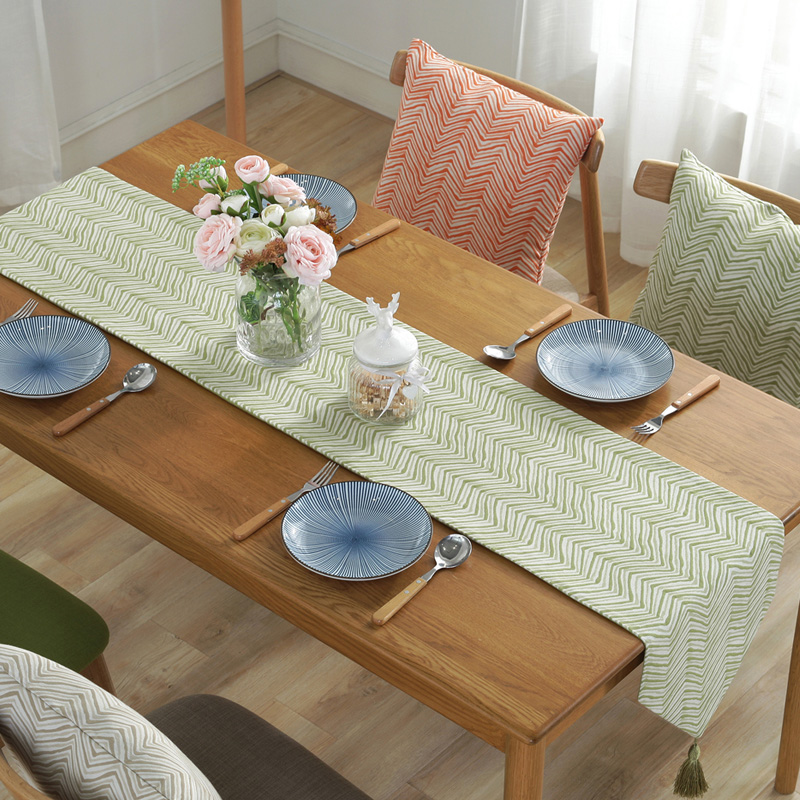 DUNXDECO Table Runner Blend Jacquard Long Table Cover Fabric Simple Style Modern Geometric Wave Home Party Decoration 1
