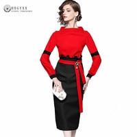 Elegant Women Office Dresses Suits 2018 Spring Ladies Red Black Patchwork Sexy Pencil Dress 2 Piece