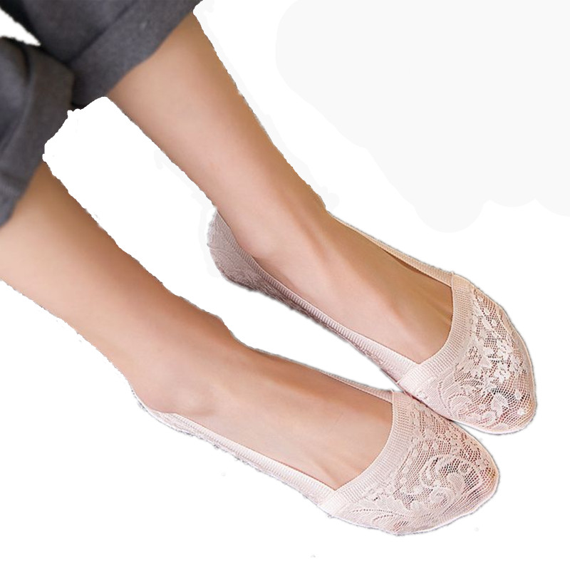 5 pairs summer Jacquard breathable non-slip trace of all silicone anti-slip stealth socks lace socks,women socks