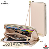 Women Wallet Phone Bag Strap RFID Large Capacity 8 Card Slot Leather Purse Case For IPhone