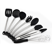 8 9pcs/set Silicone & Stainless Steel Spatula Heat resistant Soup Spoon Non stick Special Cooking Shovel Kitchen Tools