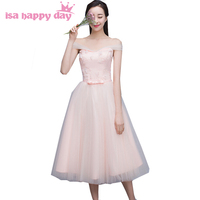 2016 Pretty Pink Shoulder Off Women Short Sweetheart Party Special Occasion Tea Length Dress Bridesmaid For