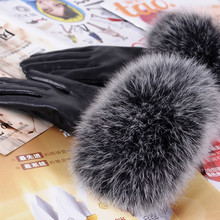 N genuine fox fur leather gloves women's high quality suede genuine leather gloves fur