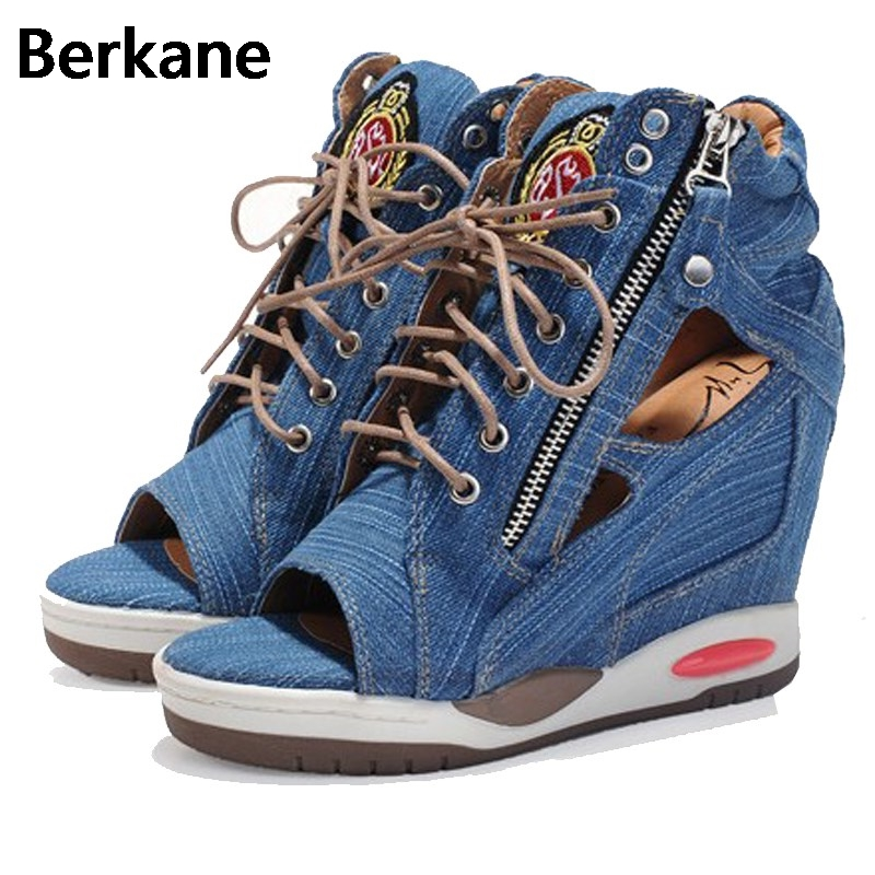Denim Canvas Gladiator Women's Sandals 2018 Side Zip Peep Toe Summer Fashion High Heel Wedges Female Shoes Ankle Zapatos Mujer summer shoes woman platform sandals women soft leather casual peep toe gladiator wedges women 7cm high heel shoes zapatos mujer