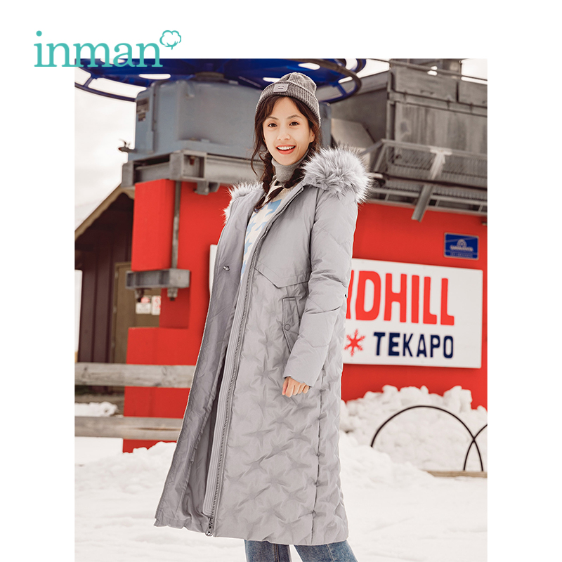 INMAN Winter New Arrival Female Hooded Fur Collar Warm Windproof Long Section Woman   Down     Coat