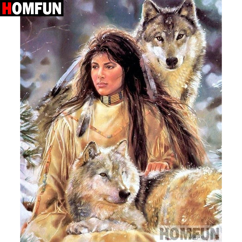 HOMFUN 5D DIY Diamond Painting Full Square Round Drill quot Indian wolf quot Embroidery Cross Stitch gift Home Decor Gift A09146 in Diamond Painting Cross Stitch from Home amp Garden