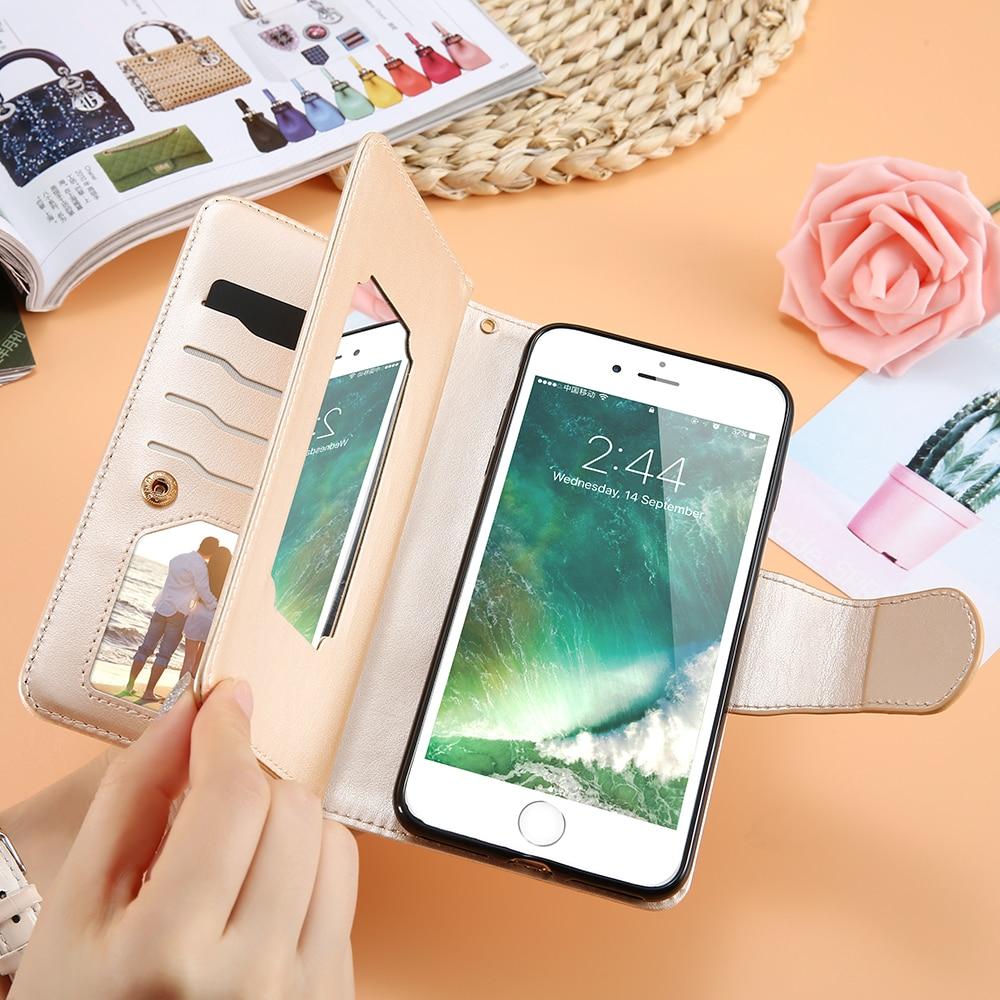 KISSCASE spegelficka stativ plånbok fodral för iPhone 5 5s SE 6s - Reservdelar och tillbehör för mobiltelefoner - Foto 4