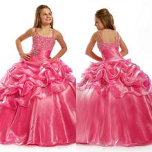 Sweet Kids Organza Spaghetti Evening Party Crystal Beading Floor Length Ball Gown 2014 Pink Flower Girl Dresses