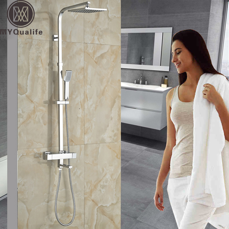 Chrome Bathroom Thermostatic Mixer Shower Faucet Set Dual Handles Wall Mount Bath Shower Kit with 8 Rainfall Showerhead polished chrome wall mount temperature control shower faucet set brass thermostatic mixer valve with handshower
