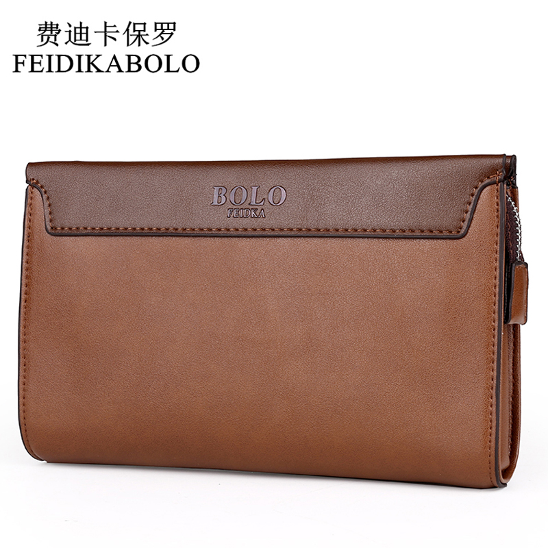 FEIDIKABOLO Brand Zipper Men Wallets Stitching Leather Clutch Wallet Male Purses Large Capacity Men's Wallets Portefeuille Homme top brand genuine leather wallets for men women large capacity zipper clutch purses cell phone passport card holders notecase