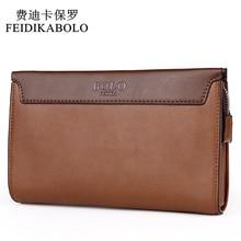 FEIDIKABOLO Brand Zipper Men Wallets Stitching Leather Clutc