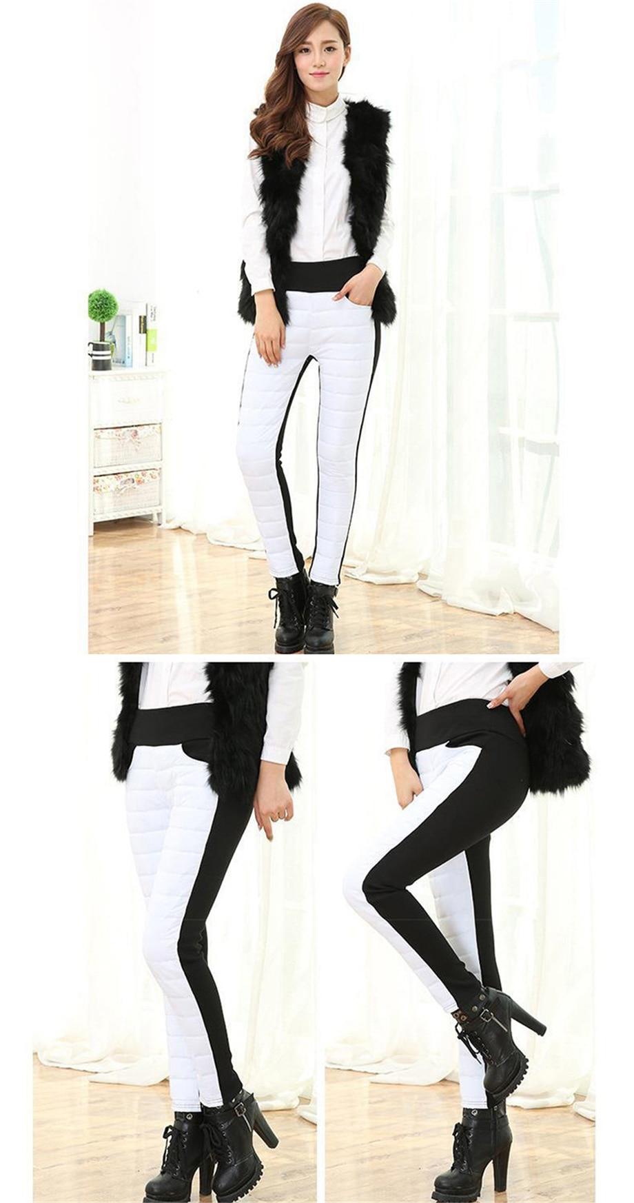 Thicken down Cotton Winter Warm Pants Women Elastic Waist Ladies Skinny Trousers Women's Casual Leggings Outwear Female Pants 23