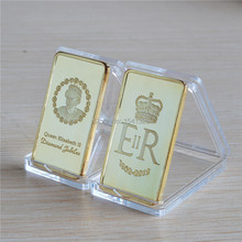 Elizabeth II Diamond Jubilee 24 Kt Gold Plated Commemorative 1 Oz. Bullion Bar 20 pcs/lot free shipping(China)