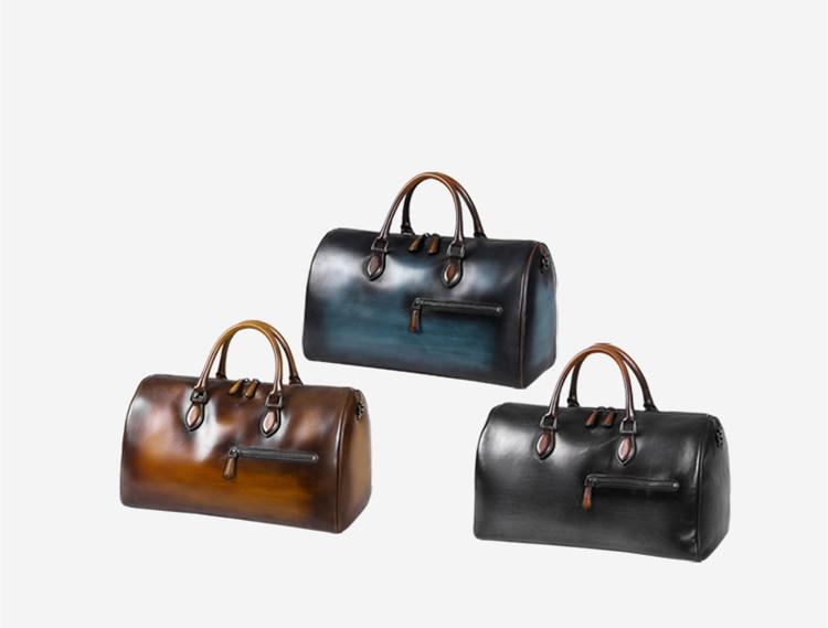 Luxury Genuine Leather Travel Bag Italian Cowhide Business Casual Travel Duffle Large Capacity Design Luggage Crossbody Bag