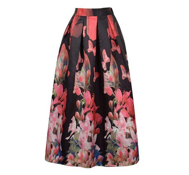 Online Shop New Fashion Animal Butterfly Print Satin Long Skirt ...