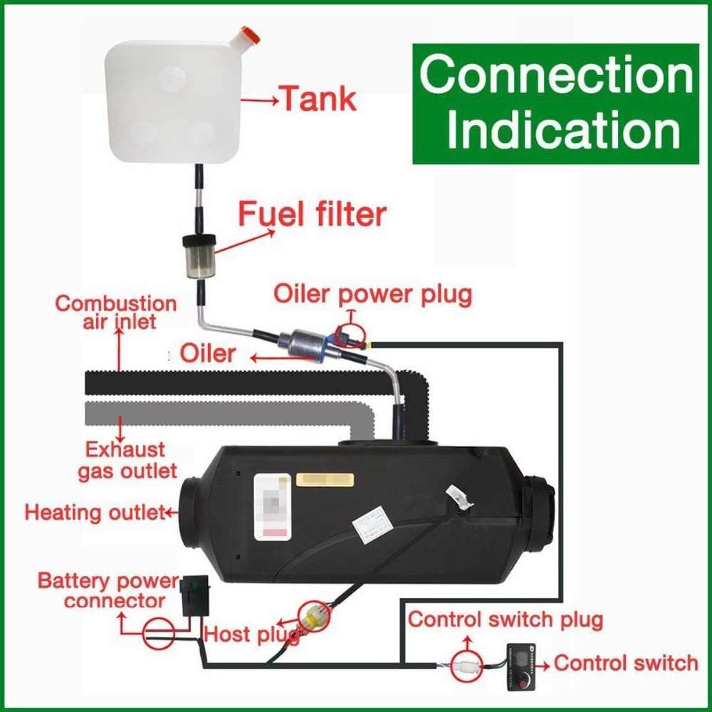 12V 5000W LCD Monitor Satu Lubang Air Mesin Diesel Pemakaian Pemanas 5KW untuk Truk Perahu Bus dengan Remote Control dan Peredam Suara Mobil Heater