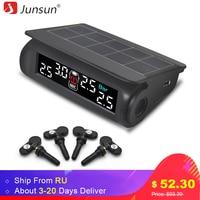 Junsun Car TPMS Tire Pressure Monitoring System Solar Charging VA HD Digital LCD Display Auto Alarm