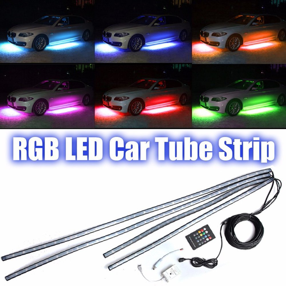 4pcs RGB Remote Control Led Car Chassis Atmospher Strip Light Waterproof Soft Glow Underbody Flashing Lamp For Car Decoration night lord ip68 waterproof 90 120 colorful led under car light rgb chip auto chassis light kit with remote control free shipping