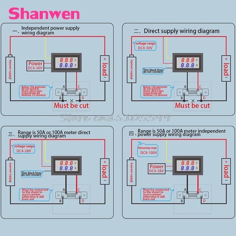 0-100V / 50A raudonai mėlynos spalvos skaitmeninis voltmetro - Matavimo prietaisai - Nuotrauka 6