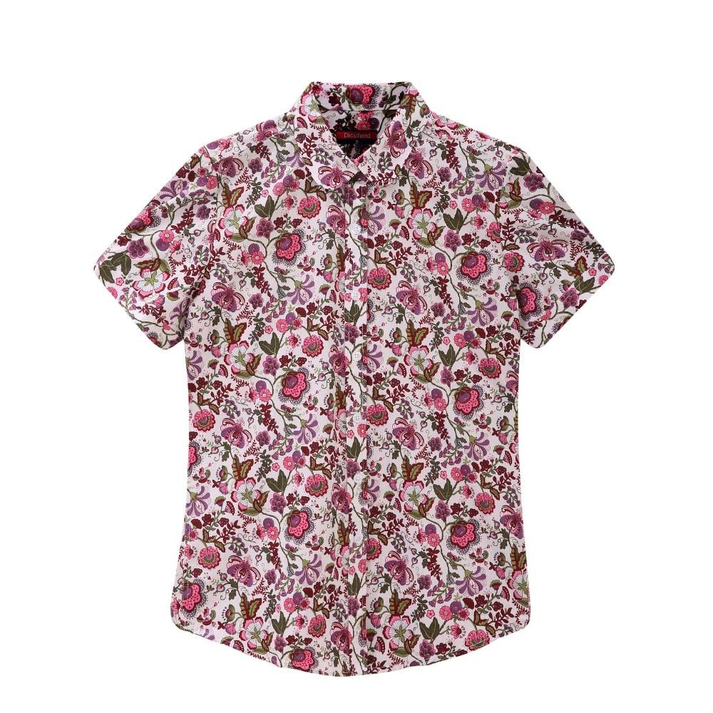 Dioufond Yaz Kısa Kollu Plaj Gömlek Kadın Çiçek Bluzlar Baskı - Bayan Giyimi - Fotoğraf 4