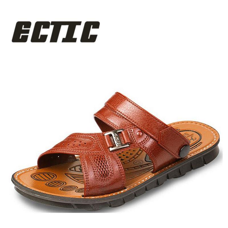 ECTIC Yeni 2018 yay kişi sandalet ayaqqabılar moda düz ayaqqabı - Kişi ayaqqabıları - Fotoqrafiya 1