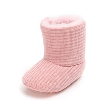 Winter Baby Boots Warm Knitting Snow Fur Plush Insole Shoes Soft Sole Infant Girl Boy Wholesale